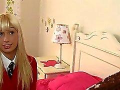 Blonde schoolgirl Erica Fontes seduce her teacher