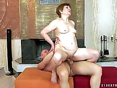 Granny Piros gets her pussy banged and creampied