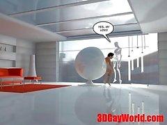 Android a Servizio in umani in 3D Gay Fumetti d'animazione