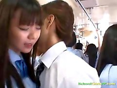 Schoolgirl Fucked While Standing in The Bus