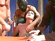Busty girl gets bondaged and fucked by three guys