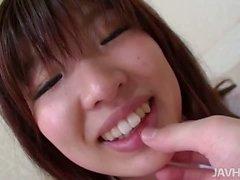 Ai Okada in her school uniform is spread wide for a stiffy
