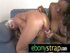 Interracial lesbian couple have some passionate dildo sex 2