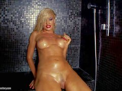Wet bubble butt blonde Sandy poses Naked in the shower
