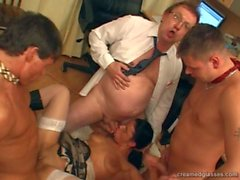 Job candidate with glasses fucked by three office members 1