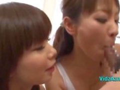 2 Asian Girls In Aerobinen Dress Imee Guy Cock Giving Handjob Cum To Hand InGy