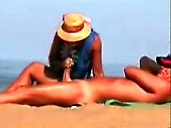 Old Milf Beach Handjob