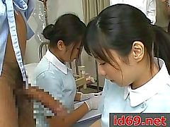 Japanese nurse jerking patient cock