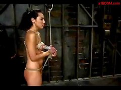 Bondaged Girl Getting Her Nipples Vacumed Whipped Jerking Masters Cock In The Dungeon