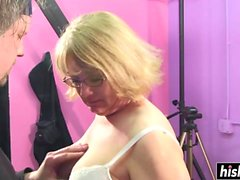 Blonde granny has fun with a stiff shaft