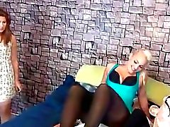 3 girls nylon foot worship