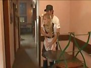 Cute blonde maid gets felt up and used at the house where she's working