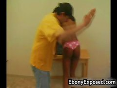 Ebony amateur strips her spankable part2