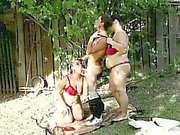 2 chubby bitches punishing cock outdoors