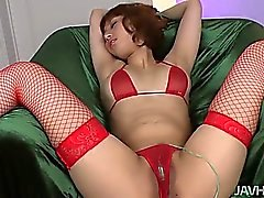 Tiara Ayase 's sweet trimmed muff fingered until she cums