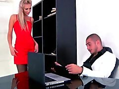 Classy squirting assfucked russian in office