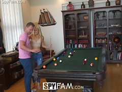 SpyFam Blonde stepmom Laura Bentley fucks stepson on pool table