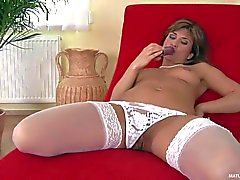 Dildo loving mom Valentine Rush in white stockings