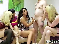 Clothed cfnm femdoms give the dude an amzing blowjob