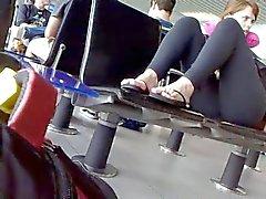 polaina negro sentarse