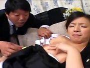 Japanese milf enjoys hardcore threesome sex