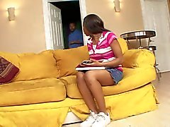 Black dude's thick cock fills up ebony's mouth
