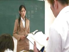 Japanese teacher pees outside and then gets toyed, blows, and gets banged