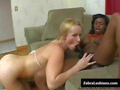 Zebra Girls - Ebony lesbian babes fuck deep strapon toys 09