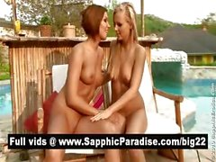 Lovely redhead and blonde lesbos kissing and having lesbo sex