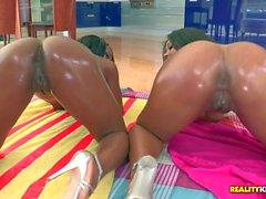 Hot ass black bombshells Megan and Persia have wild 69