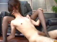 Office Lady In Pantyhose Jerking Guy Cock Getting Her Legs Fucked Giving Fo