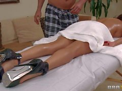 MILF Diamond Foxxx enjoys body massage in the nude