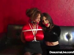 Bound Cougars Deauxma & Ashley Renee Fuck Ball Gagged!