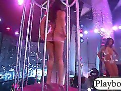 Group of party girls stripped down and teasing in a club