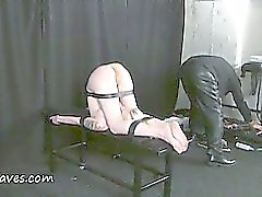Fisting punishment and deep bondage slave domination of restrained blonde bizarre painslut Weekay