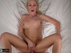 Blonde Cougar Blake Morgan gets cum on her big tits