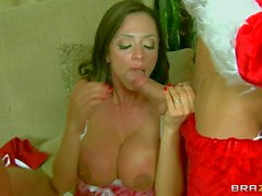 Big titted MILF Ariella Ferrera gets double fucked on Christmas