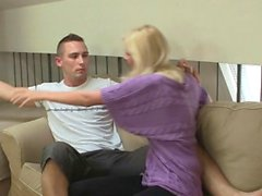 Czech blonde gives head and rides his angry cock