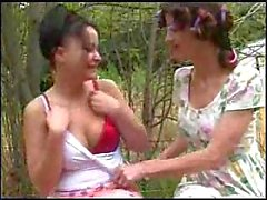 Brunette lesbos making out outdoor
