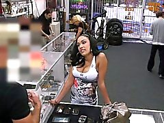 Pawnshop latina hottie squirted with cum
