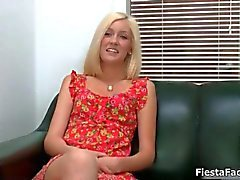 Cute blonde girl comes in for her first
