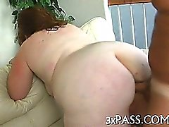 Bulky amazing girl is giving a head