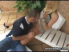 Blonde Shemale Smokes And Gets A Blowjob
