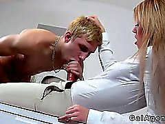 Female agent with strap on fucking guy up his ass on couch