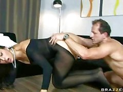 Sexy brunette with great ass wearing bodystocking gets ass licking