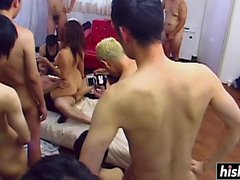 Asian maid gets her holes gangbanged