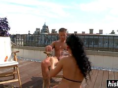 handsome guy pleases a brunette babe segment