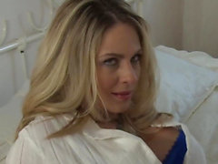 Blonde chick plays with a BBC