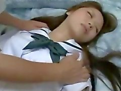Schoolgirl Getting Her Nipples Sucked Pussy Fingered By Old Man While Sleeping On The Bed