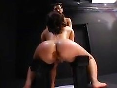 Horny Asian slut gobbles a hard cock and fucks her pussy wi